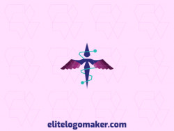 Logo available for sale in the shape of a flying bird with a creative style with blue and purple colors.