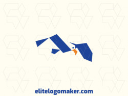 Minimalist logo with a refined design forming a flying bird with yellow and blue colors.
