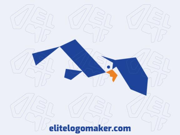 Logotipo elegante composto por formas criativas formando um albatroz com estilo minimalista, as cores utilizadas foi amarelo e azul.