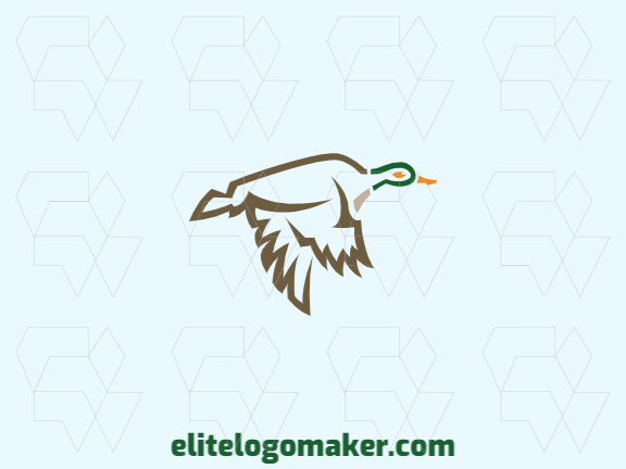 Elegant logo with abstract shapes forming a flying duck with a simple design with yellow, brown, beige, and green colors.