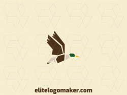 Creative logo with minimalist design forming a flying duck with green, brown, yellow, and beige colors.
