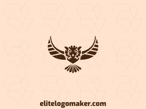 Symmetry logo with an incredible idea forming a flying owl composed of abstract shapes with brown color.