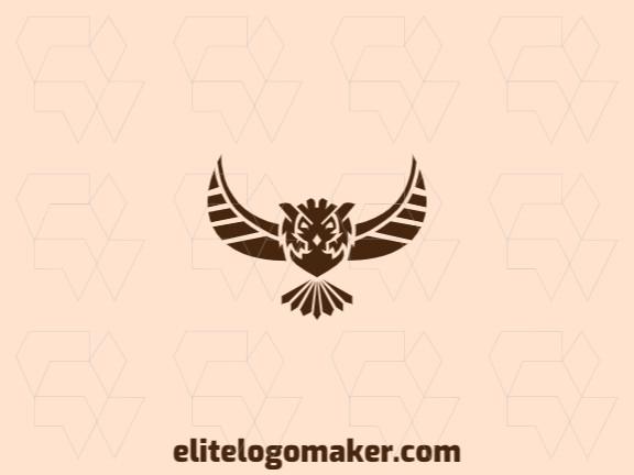 Logotipo elegante composto por formas simples formando uma coruja voando com estilo simétrico, a cor utilizada foi marrom.