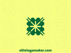 Abstract logo in the shape of a four leaf clover combined with an asterisk composed of solid shapes and refined design, the color used in the logo was green.