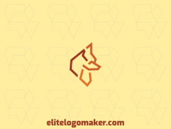 Animal logo composed of abstract shapes and lines forming a fox with yellow and orange colors.