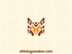 Great logo in the shape of a fox head with abstract design, easy to apply in different media.