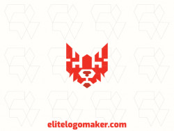 Customizable logo in the shape of a fox head with creative design and abstract style.