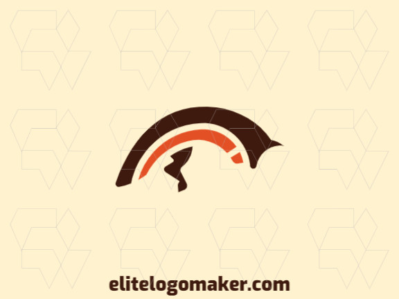 Logotipo elegante com formas abstratas formando uma raposa pulando com design minimalista e cores marrom e laranja.