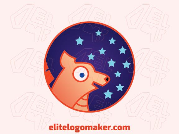 Ótimo logotipo com a forma de uma raposa mesclado com estrelas com design infantil, fácil de aplicar em diferentes mídias.