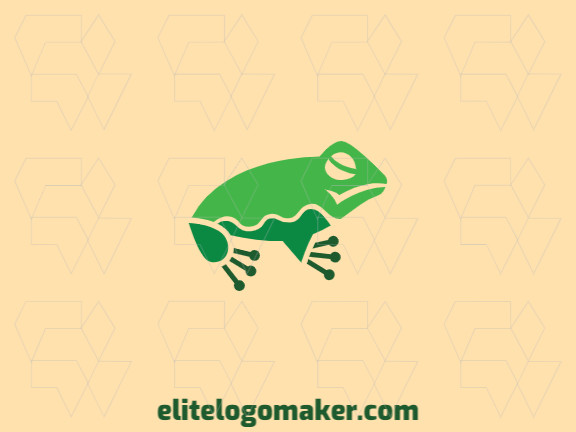 Simple logo in the shape of a frog combined with connectors composed of circles and abstract shapes with green color.
