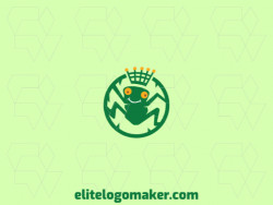 Circular logo design in the shape of a frog wearing a crown with green and yellow colors.