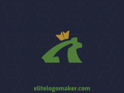 Minimalist logo design consists of the combination of a frog with a shape of a crown with yellow and green colors.