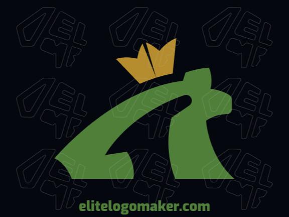 Logotipo criado com estilo minimalista formando um sapo combinado com uma coroa com as cores amarelo e verde.