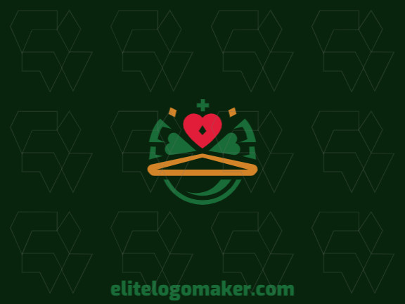 Customizable logo with the shape of a frog combined with a crown made up of a childlike style and red, green, and yellow colors, that logo is ideal for various businesses.