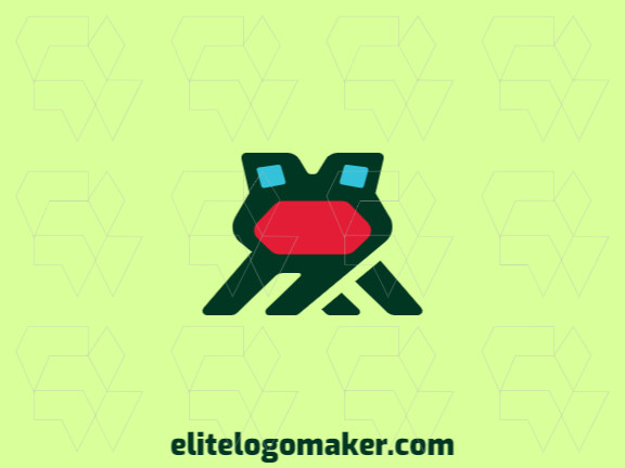 Abstract logo design in the shape of a frog's head composed of stylized forms with green, red, and blue colors.
