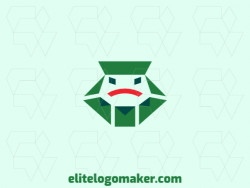 Abstract company Logo design in the shape of a frog's head combined with several envelopes with green and red colors.