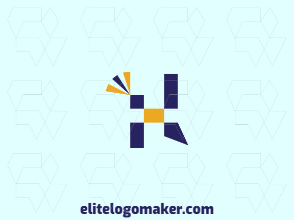 Animal logo in the shape of a geometric bird with blue and yellow colors, this logo is ideal for various types of business.