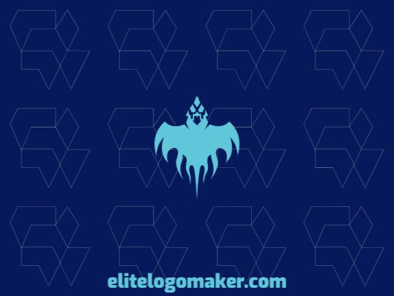 Simple and professional logo in the shape of a ghost bird with a symmetry style, the color used was blue.