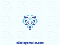 Ornamental logo created with abstract shapes forming a ghost with the color blue.