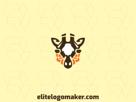 Animal logo in the shape of a giraffe head composed of a mosaic with brown, white and yellow colors.
