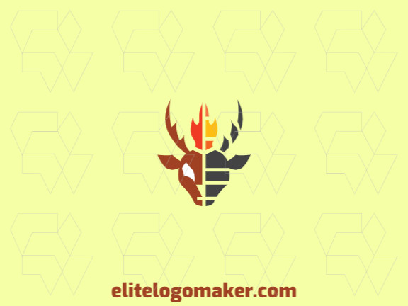 Animal logo in the shape of a  goat's head on fire composed of abstracts forms with red, brown, black and yellow colors.