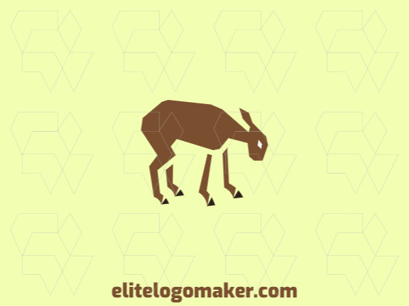 Animal logo with the shape of a goat composed of abstract shapes, the colors used are black and brown.