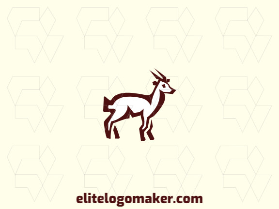 Simple and professional logo template in the shape of a goat with abstract style, the color used is brown.