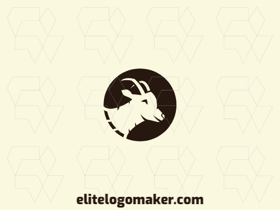 Vector logo in the shape of a goat with a circular design and brown color.