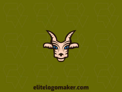 Create an ideal logo for your business in the shape of a goat with abstract style and customizable colors.