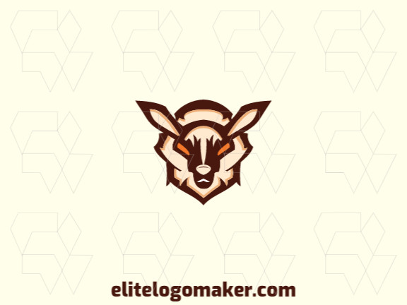 Simple logo composed of abstract shapes forming a goat with brown, orange, and beige colors.