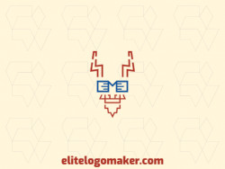 Animal logo composed of abstract shapes and lines forming a goat's head with brown and blue colors.