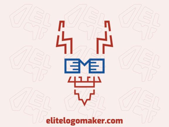Logotipo simples e profissional com a forma de um bode com estilo monoline, as cores utilizadas foi azul e marrom.