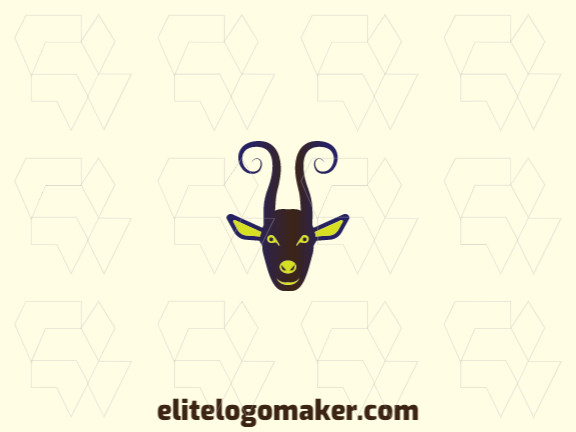 Animal logo design in the shape of a goat's head composed of gradient shapes with purple, green, black, and brown colors.