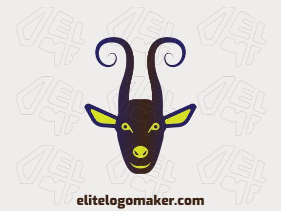 Logotipo customizável composto por formas sólidas e estilo gradiente formando um bode com cores marrom, roxo, e verde.