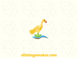 Gradient logo in the shape of a duck combined with elements of nature  (land, water, and leaves), the colors used are yellow, orange, blue, brown, and green.
