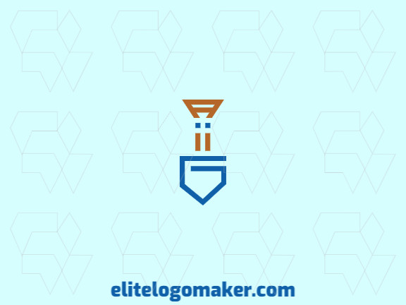 """Initial logo design in the shape of a shovel combined with the letter """"G"""" with yellow and blue colors."""