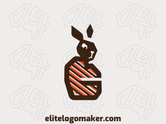Logotipo abstrato customizável com a forma de um coelho com cores branco, marrom, e laranja.