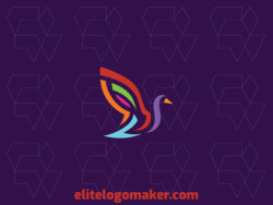Customizable logo design with refined design forming a goose with an abstract style and pink, green, red, purple, blue, and yellow colors.