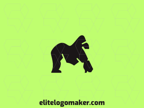 Simple logo design in the shape of a gorilla with minimalist design and black color.
