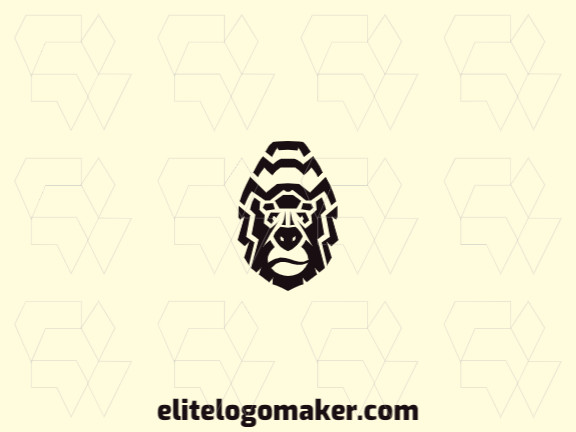 Logo design available in the form of a gorilla head with symmetry style and black color.