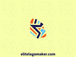 Abstract logo composed of abstract shapes and rectangles forming a gorilla with blue and orange colors.