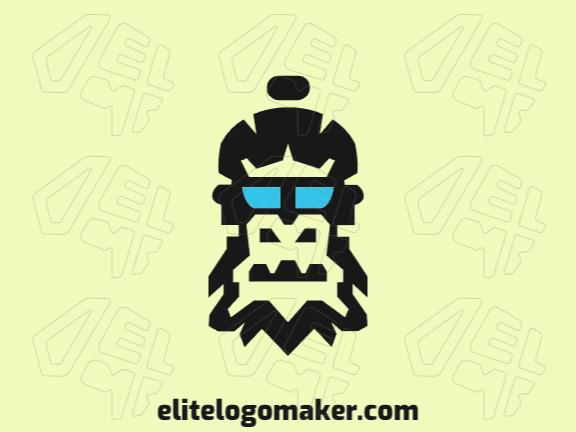 Logotipo abstrato com formas sólidas formando uma cabeça de gorila com design refinado e cores preto e azul.