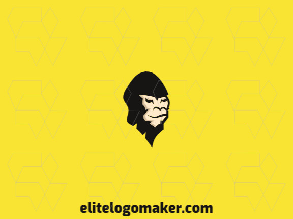 Animal logo with a refined design forming a gorilla head with black and yellow colors.