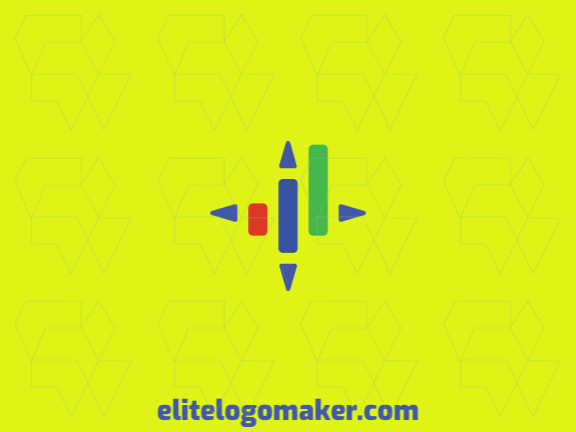 Logo available for sale in the shape of a graph combined with arrows with a minimalist style with green, blue, and red colors.