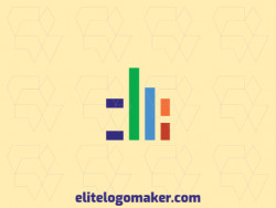 Vector logo in the shape of a graph with minimalist design with blue, orange, purple, and red colors.