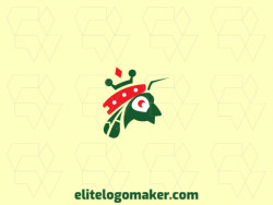 Simple logo in the shape of an ant wearing a crown with green and orange colors.