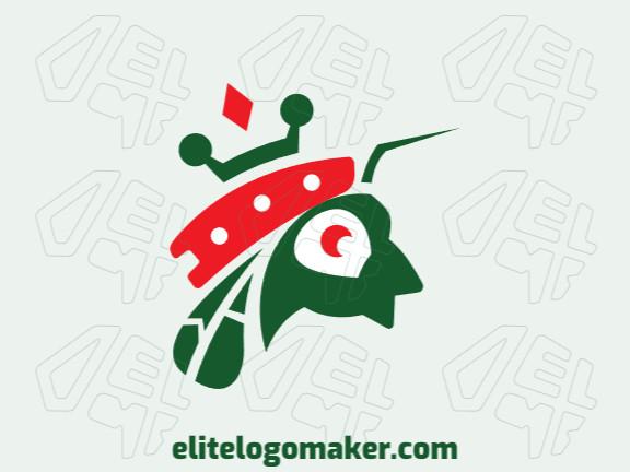 Logotipo criativo com a forma de uma formiga mesclado com uma coroa com design memorável e estilo infantil, as cores utilizado foram branco, laranja, e verde.