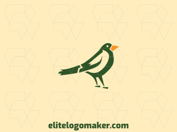 Beautiful logo with simple shapes forming a bird with abstract design with green and yellow colors.