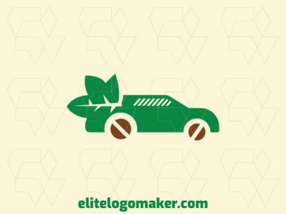 Abstract logo design consists of the combination of a car with a shape of a leaf with brown and green colors.