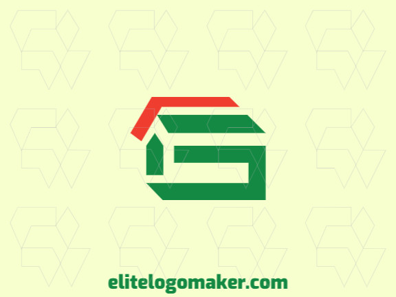 "Simple logo design consists of the combination of a home with a shape of a letter ""G"" with orange and green colors."